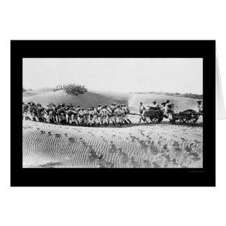 Cartão Tropas britânicas que puxam uma arma de campo 1914