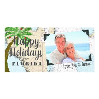 Cartão Tropical boas festas de Florida náutico