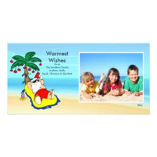 Cartão tropical da foto de família do papai noel d