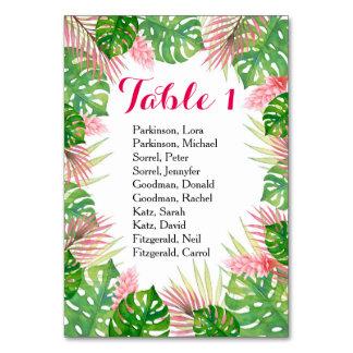 Cartão tropical da mesa do casamento da aguarela
