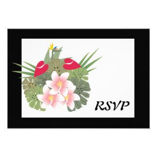 Cartão tropical das flores RSVP Convite Personalizados