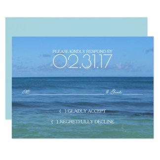 CARTÃO tropical do casamento de praia RSVP Convite 8.89 X 12.7cm