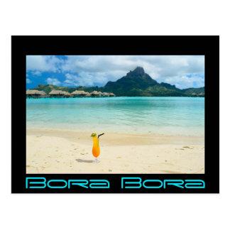 Cartão tropical do cocktail de Bora Bora