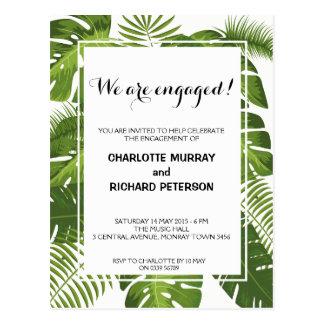 Cartão tropical do convite da festa de noivado cartão postal