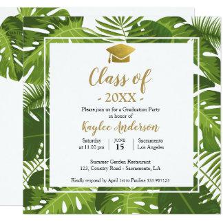 Cartão tropical do convite da foto da graduação