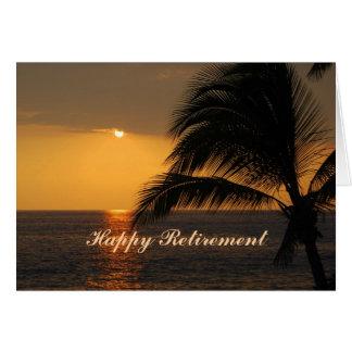 Cartão tropical do por do sol da aposentadoria