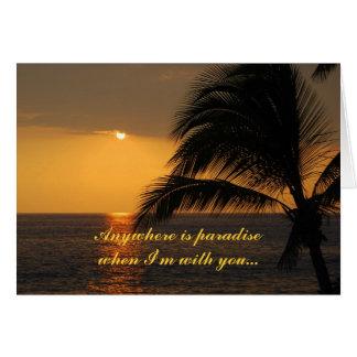 Cartão tropical do por do sol do por do sol do