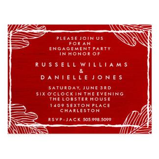 Cartão tropical vermelho da festa de noivado da