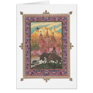 Cartão Tsarevich Ivan no castelo do falcão