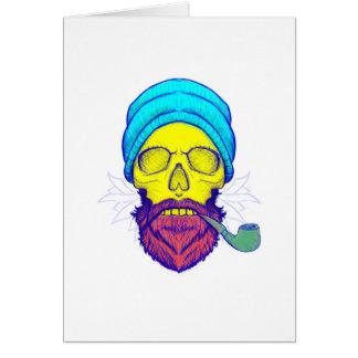 Cartão Tubulação de fumo amarela do crânio