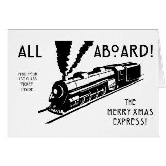 Cartão Tudo a bordo do Xmas da feliz expresso