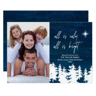 Cartão Tudo é calma que tudo é foto brilhante do Natal