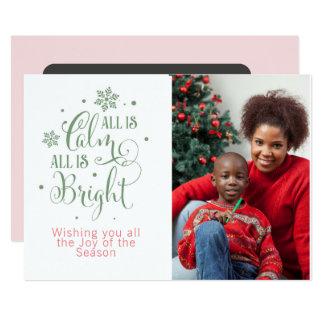 Cartão Tudo é calmo/Natal Quote/2-Sided personalizado