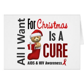 Cartão Tudo que eu quero para o AIDS do Natal