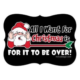Cartão Tudo que eu quero para o design engraçado do Natal
