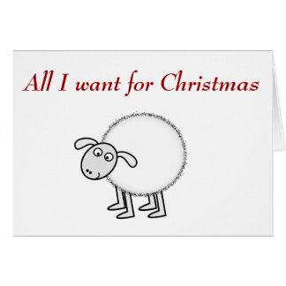 Cartão Tudo que eu quero para o Natal é ovelha