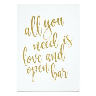 Cartão Tudo que você precisa é amor e abre o sinal do