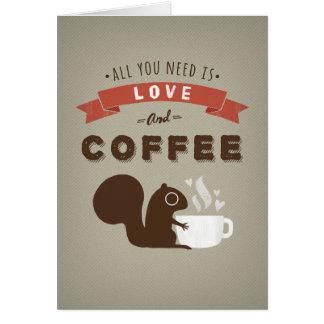 Cartão Tudo que você precisa é amor e café - costume