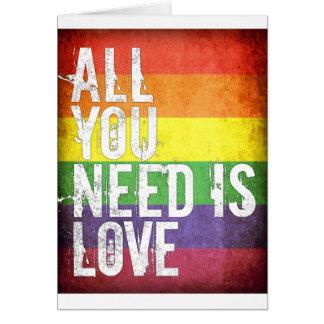 Cartão Tudo que você precisa é amor (o teste padrão do