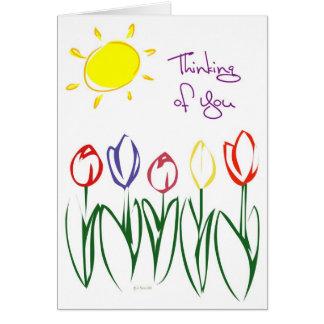 Cartão Tulipa-Pensamento esboçado
