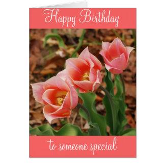 Cartão Tulipas cor-de-rosa bonito do feliz aniversario