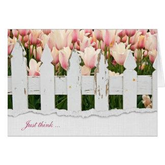 Cartão tulipas e cerca da amizade