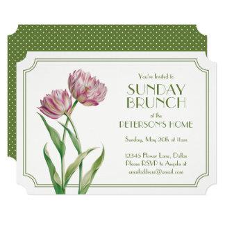 Cartão Tulipas e refeição matinal de domingo pintadas das