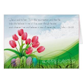 Cartão Tulipas & nuvens cristãs do verso da bíblia do