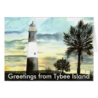 Cartão TYBEEISLANDLIGHTPOSTER, cumprimentos de Tybee é…