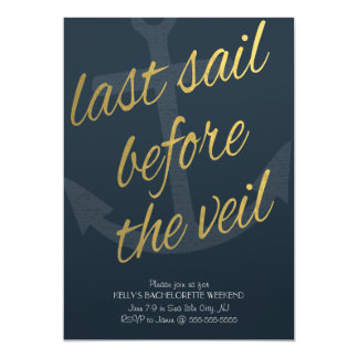 Cartão Última vela antes do véu Bachelorette no marinho