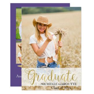 Cartão ultravioleta do anúncio da graduação da