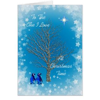 Cartão Um amor de I com pinguins do Natal