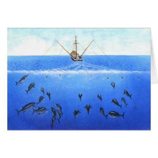 Cartão Um barco de pesca à linha