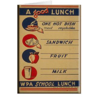 Cartão Um bom almoço escolar