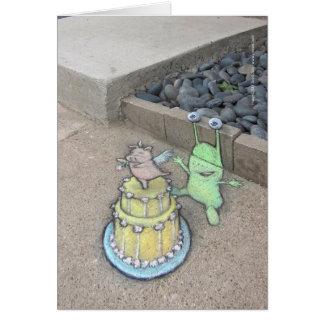 Cartão um chapéu de coco incomum do bolo