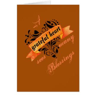 Cartão Um coração grato considera muitas bênçãos