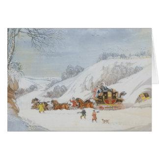 Cartão Um correio na neve profunda