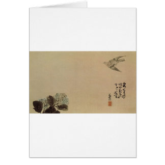 Cartão Um cuco pequeno através de um hydrangea (Haiga)