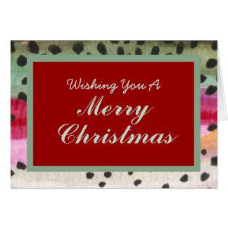 Cartão Um de um Natal amável da pele da truta da pesca