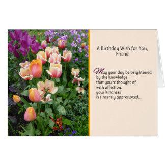 Cartão Um desejo do aniversário para você, amigo