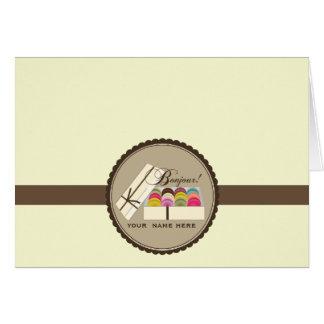 Cartão Um dúzia franceses Macarons Bonjour Notecard