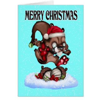 Cartão Um esquilo bonito do Natal