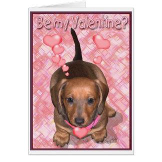 Cartão Um filhote de cachorro de Doxie dos namorados