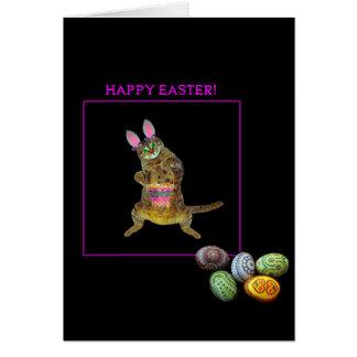 Cartão Um gatinho com orelhas do coelho