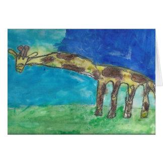 Cartão Um girafa tímido