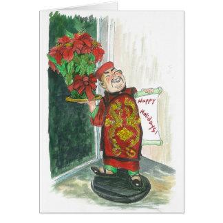 Cartão Um homem asiático alegre está feliz