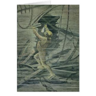 Cartão Um mergulhador do mar profundo que olha as