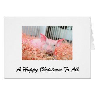 Cartão Um Natal feliz do porco para tudo