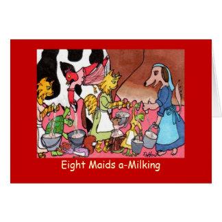 Cartão Um-Ordenha de oito empregadas domésticas