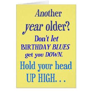 Cartão Um outro ano mais velho? Nenhuns azuis do feliz